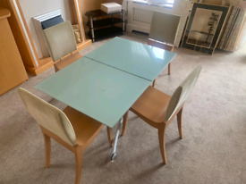 Glass top dining room table and 4 chairs £85