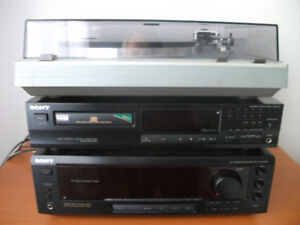 SONY STEREO TOWER: RECEIVER, CD PLAYER, TURNTABLE, 200 W