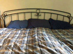 King bed with Brushed-Metal Headboard and memoryfoam topper