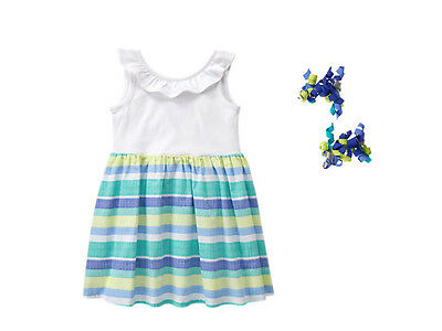 NWT Gymboree TIDE POOL Size 2T 3T 4T 5T Striped Dress & Hair Clips ](Size 2t 3t)