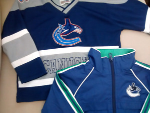 Size 2-3T Canucks Jacket and Jerseys in great condition!