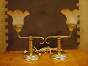 BRASS  BEDROOM LAMPS (2)