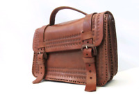 Lost Mexican tan leather briefcase messenger bag