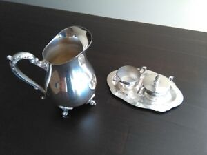 Silver plated water pitcher and Cream and Sugar set