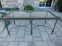 Modern Glass and Rod Iron Coffee Table