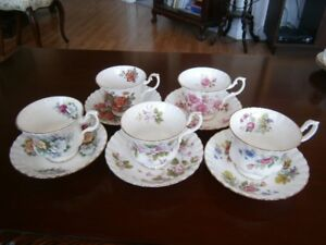 FIVE PRETTY ROYAL ALBERT CUP AND SAUCER SETS