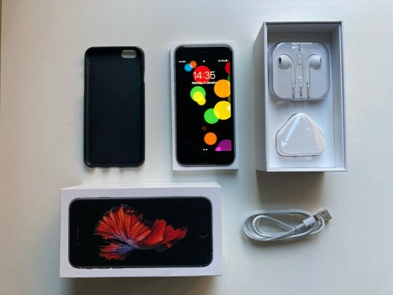iPhone 6s 128gb - earphones, charger plug and usb cable + slim protective case in black.