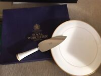 Royal Worcester Cake Plate with serving knife