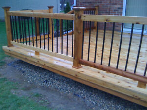 Deck Railing 2x4 with Black Steel Spindles