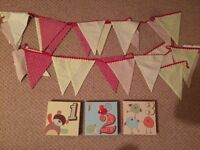 Nursery bundle from next - curtains, bumpers, bunting, sheet, coverlet, light shade
