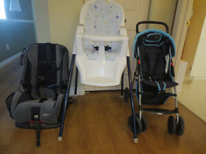 Baby Stroller, High Chair and Car Seat
