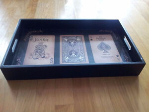 Solid wooden playing cards print black serving tray decorative London Ontario image 1