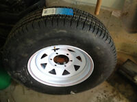 ST225/75/R15 Trailer Tire and Rim, Brand New
