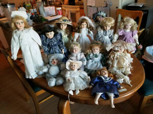 Collection of 15 Bisque Porcelain Dolls