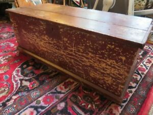ANTIQUE PINE TOOL BOX GREAT FOR COFFEE TABLE GOOD CONDITION ASKI