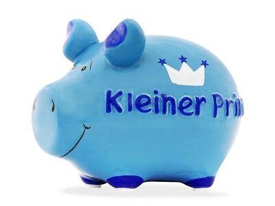 KCG Sparschwein KLEINER PRINZ, Keramik Spardose Schwein Blau, Taufe Geburt Junge ()