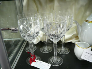 Eight oversized Waterford crystal Marquis wine glasses