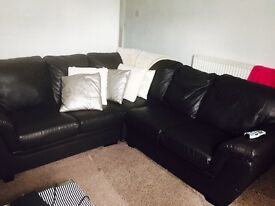 Faux leather brown corner sofa £200
