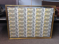 Uncut Sheet of Canadian Dollar Bills (Rare) - Mint Condition