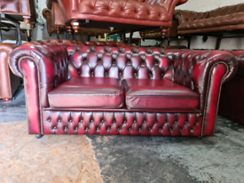 Oxblood Saxon Chesterfield 2 Seater Sofa