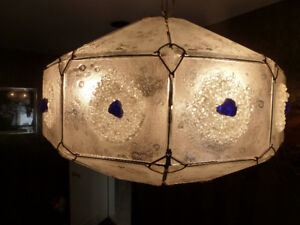 CUSTOM DESIGNED GLASS AND CRYSTAL LIGHTING FIXTURE