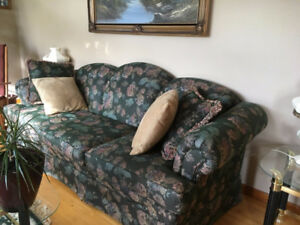 Couch Chair and 3 piece glass coffee table set