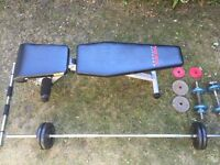 Weights bench, bar, weights selection, dumbbells and chin-up bar