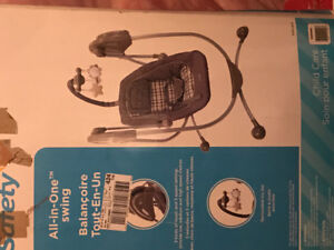 Boxed baby crib, high chair,swing for sale in v good condition