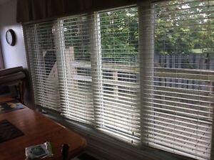 Faux wood creme blinds
