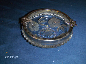 VINTAGE CUT GLASS ASHTRAY-FROSTED FLOWER PATTERN-1960S-RARE!