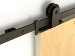 Sliding barn door hardware with soft close, & barn doors