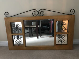 Gorgeous PIER ONE wall mirror. Wood and wrought iron.  EUC