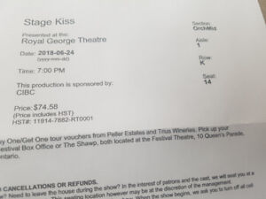 Two ticket for Stage kiss theater