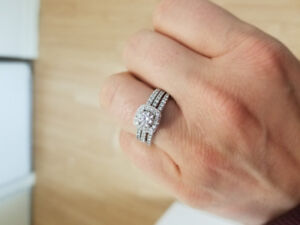 Beautiful Engagement ring, wedding band and anniversary band