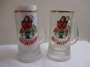 Pair of Kitchener-Waterloo Oktoberfest Glass Beer Steins