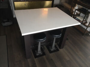 Custom made Italian Quartz dining table with 6 stools