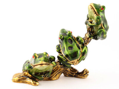 Baby Frogs on Branch Jewelry Trinket Box Decorative Frog Insects Cute Gift - Frog Box