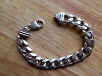 Men's HALLMARKED sterling silver solid kurb chain bracelet