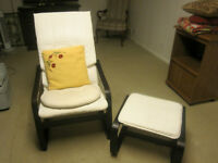 Ivory Chair + matching footstool set
