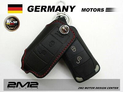 A1A403Leather Keyfob Holder Case Chain Cover FIT For PORSCHE 911 Carrera S Targa