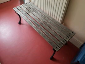 Large Vintage Wooden Bench cast iron ornate Seating table