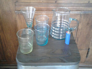 Recycled glass water pitcher + 6 glasses. No cracks or chip