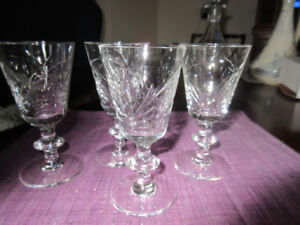 4 Vintage Lead Crystal Liquer Glasses with corn etchings