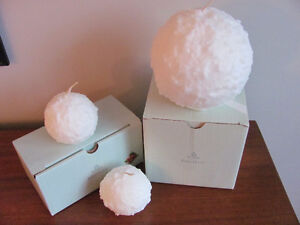 3 PARTYLITE SNOWBALL CHRISTMAS CANDLES Lrg & Small EXC!