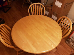Solid birch dining table with 4 chairs