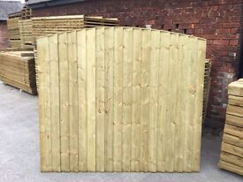 🔨🌟The Finest Quality Bow Top Feather Edged Pressure Treated Fence Panels