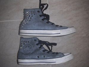 Ladies Grey Studded High Top Converse Size 8