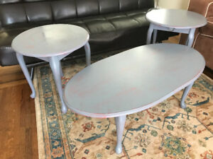 COFFEE TABLE & SIDE TABLES SET ~ hand distressed!!