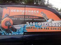DEBOUCHAGE PLOMBERIE CAMERA ODEUR RATS RACINE 514-917-0042