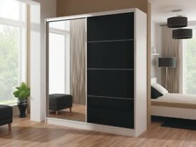 LUXURY STYLISH DESIGN WIKA 203 CM HIGH GLOSS SLIDING WARDROBE QUALITY SAME\NEXT DAY DELIVERY